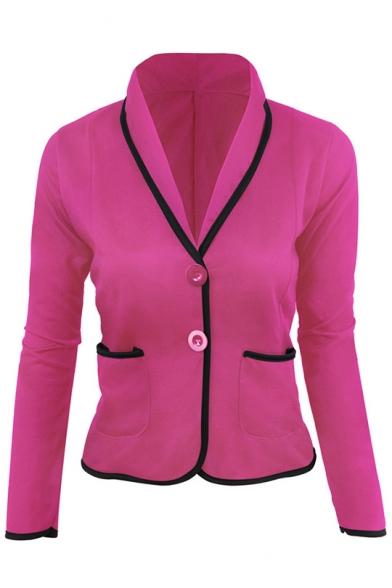 Fashion Two Button Contrast Trim Slim Design Short Blazer Jacket