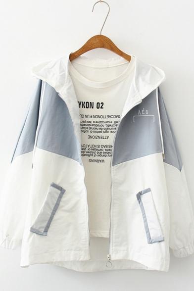 Girls New Trendy Colorblock Two-Tone Long Sleeve Lightweight Zip Up Hooded Coat