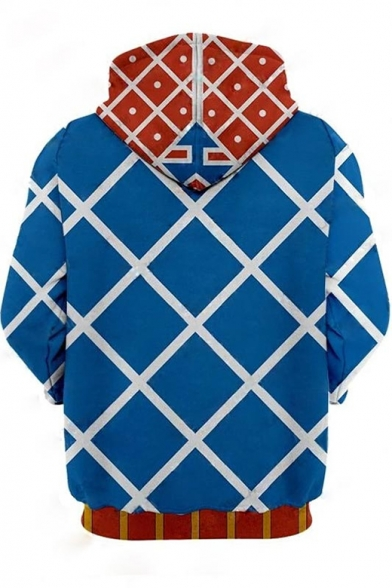 Hot Fashion Blue Check Pattern Comic Cosplay Costume Long Sleeve Casual Loose Hoodie
