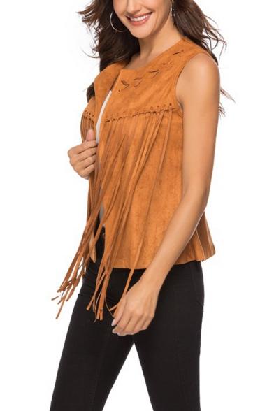 Hot Popular Women's Round Neck Fringe-Trimmed Plain Suede Short Vest