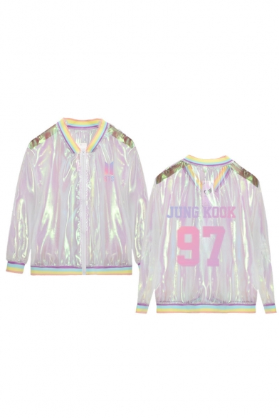 Hot Stylish BTS Pattern Long Sleeve Regular Sun Protection ombré Translucent Jacket Coat