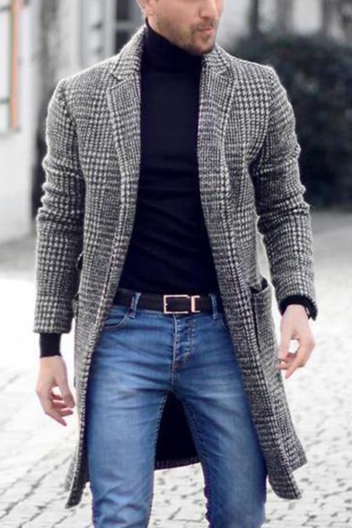 Men's New Trendy Notched Lapel Collar Long Sleeve Plaid Print Black And White Coat Overcoat