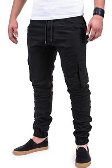Men's Popular Fashion Solid Color Flap Pocket Side Drawstring Waist Elastic Cuffs Casual Slim Cargo Pants