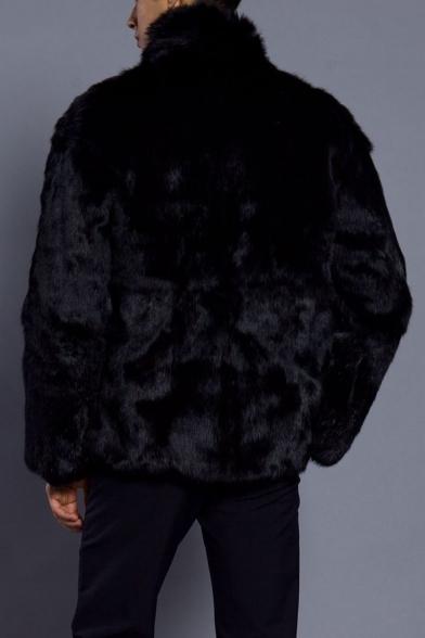 Men's Winter New Arrival Simple Plain High Neck Long Sleeve Black Fluffy Fleece Coat
