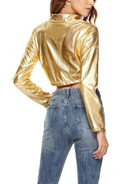 New Arrival Gold Metallic Stand Collar Color-Block Stripes Long Sleeve Zipper Cropped Jacket