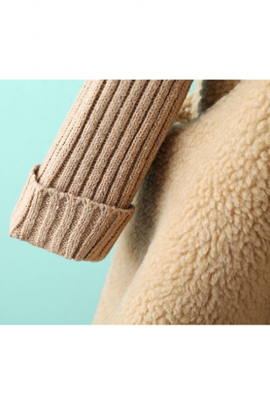 New Arrival Knitted Panel Long Sleeve Hooded Casual Appliqued Outerwear Coat