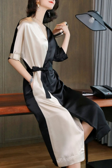 New Fashion V-Neck Half Sleeve Color Block Front Tie Pockets Split Front Retro Silk Maxi A-Line Dress