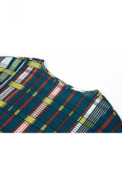 New Fashion Vintage V-Neck Short Sleeve Multi Plaid Loose Shift Midi Dress With Pockets