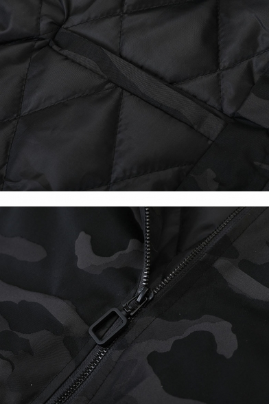 New Stylish Cool Camouflage Printed Long Sleeve Stand Collar Zip Up Ribbon Baseball Jacket for Men