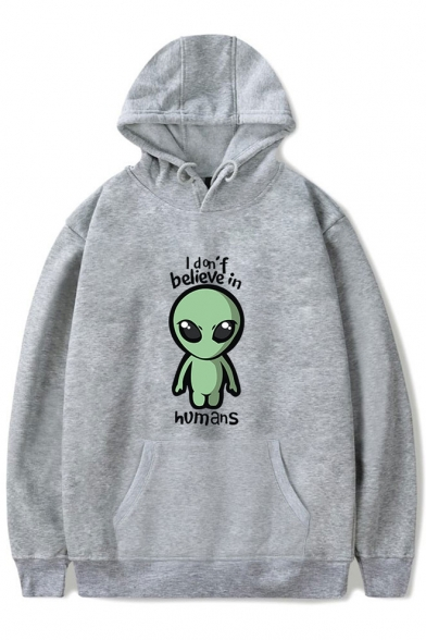 New Stylish Funny Alien Letter I Don't Believe In Humans Printed Casual Sport Hoodie