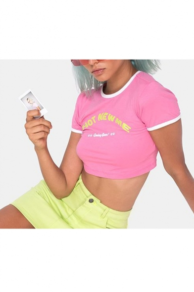 New Trendy HOT NEW ME Letter Printed Round Neck Short Sleeve Cropped Pink Tee