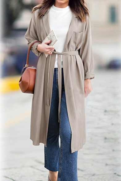 Notched Lapel Open Front Tied Waist Long Solid Color Trench Coat