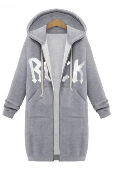 Simple Letter Printed Hooded Longline Plain Padded Overcoat