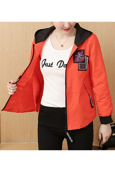 Skull Printed Colorblocked Hooded Short Zip Up Jacket Coat with Pocket