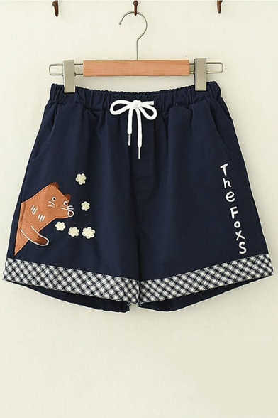 Summer Popular Drawstring Cord Fox Embroidered The Foxs Letter Check Trim Leisure Shorts LM552446 фото