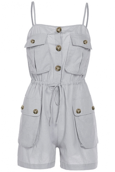 Summer Straps Sleeveless Drawstring Waist Multi Pocket Button Embellished Grey Rompers
