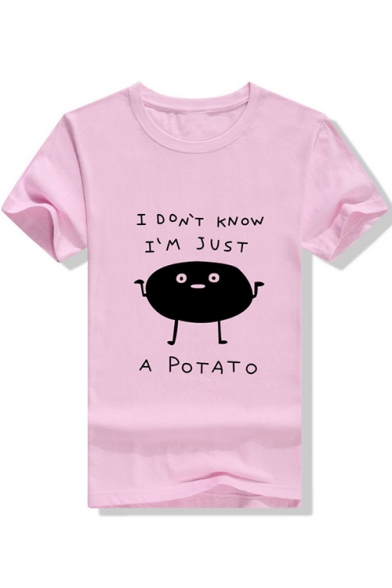 Trendy Cute Short Sleeve Round Neck A POTATO Letter Printed Straight T Shirt