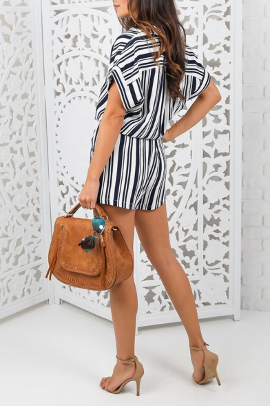 Trendy Navy Short Sleeve Drawstring Waist Button Front Vertical Striped Print Rompers