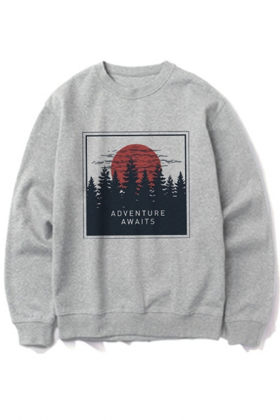 Women's ADVENTURE AWAITS Letter Print Long Sleeve Round Neck Grey Sweatshirt