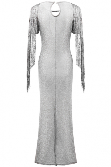 Women's New Fashion V-Neck Short Sleeve Tassel Sequined Slit Hybrid Maxi Bodycon Dress