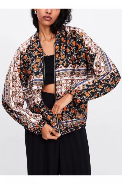 Women's Retro Floral Geometric Print Zip Up Bomber Jacket