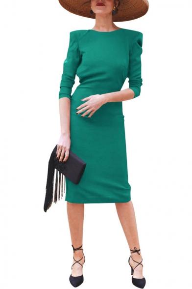 Women's Round Neck Long Sleeve Bow Open Back Slit Blue Sheath Dress