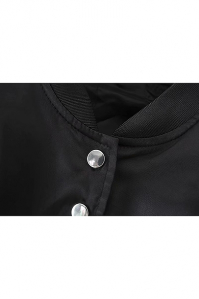 Womens Basic Plain Stand Collar Long Sleeve Ruched Back Button Down Short Jacket