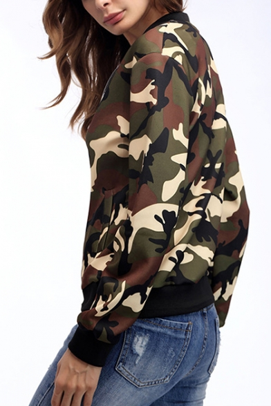 Womens Fashion Classic Camo Printed Stand Collar Long Sleeve Zip Up Jacket