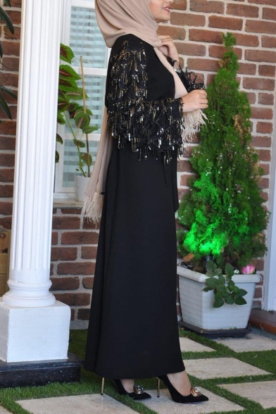 Womens Fashion Round Neck Long Sleeve Bow-Tied Waist Panelled Sequined Plain A-Line Maxi Dress