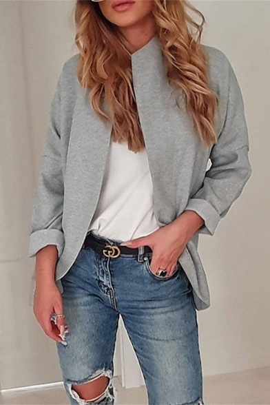 Womens Hot Trendy Simple Solid Color Long Sleeve Open Front Cardigan Coat