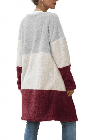 Womens Long Sleeve Open Front Longline Cardigan Color Block Plush Coat