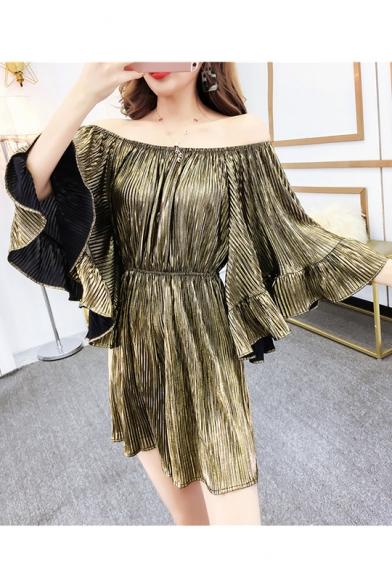 Womens Metallic Color High Waist Off Shoulder Flared Sleeve Ruffle Hem Rompers