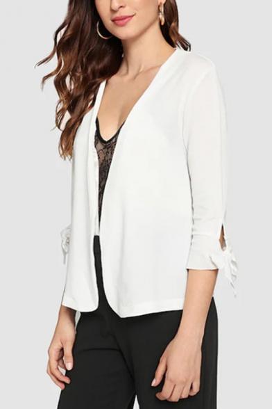 Womens New Fashion Plain White Tied Cuff Three-Quarter Sleeve Short Blazer Coat