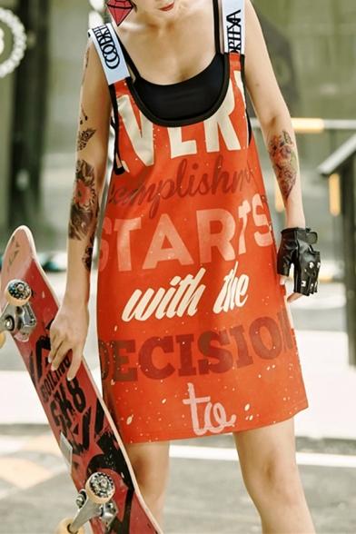 Womens New Trend Hip-Hop Scoop Neck Sleeveless Letter Print Orange Midi Cami Shift Dress