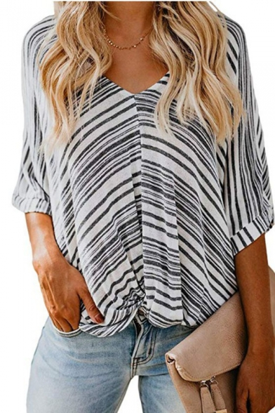 Womens New Trendy Stripe Printed V-Neck Bat Sleeve Loose Fit Twist T-Shirt
