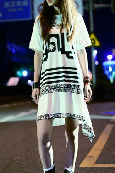 Womens Round Neck Short Sleeve Letter Striped Loose Swing Asymmetrical Midi Dress