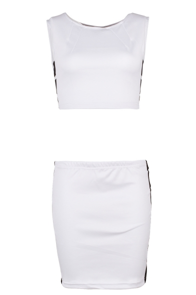 Womens Sexy Night Club White Slim Fit Crop Tank Top with Cutout Mini Skirt Two-Piece Set