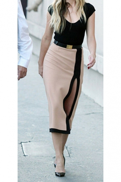 Womens Sexy Plunge V-Neck Cap Sleeve Split Side Midi Pencil Dress