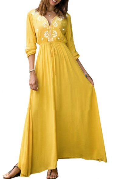 Womens Sexy V-Neck Long Sleeve Floral Print Ruched Bow-Tied Waist Yellow A-Line Maxi Dress