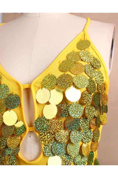 Womens Sexy V-Neck Sleeveless Hollow Sequined Tassel backless Tie Back Latin Skirt Costume Asymmetrical Cami Dress