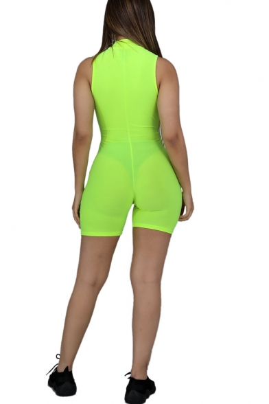 Womens Sleeveless Hollow Out Colorblock Bagbucket Waist Contrast Trim Bodycon Rompers