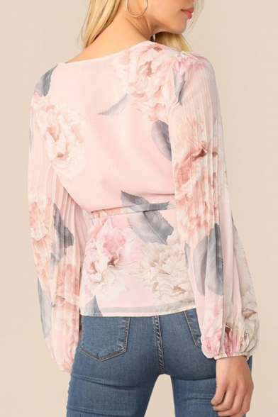 Womens Stylish Elegant Floral Pattern V-Neck Blouson Long Sleeve Bow Tied Leisure Pink Blouse Top