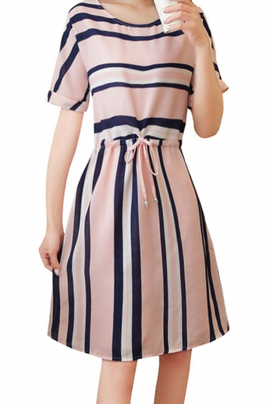 Womens Summer Round Neck Short Rolled Sleeve Striped Ruched Tie Front Midi A-Line Dress