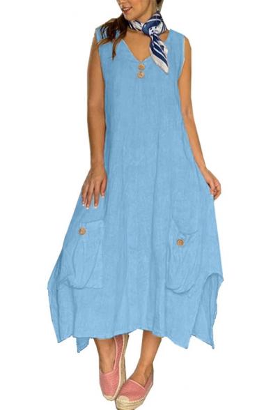 Womens Summer V-Neck Sleeveless Button Pockets Plain Slit Asymmetrical Shift Maxi Dress