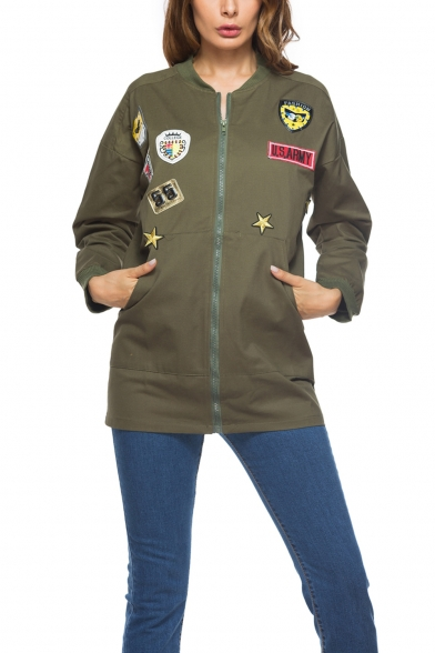 Womens Unique Badge Patched Long Sleeve Zip Up Tunic Fitted Jacket