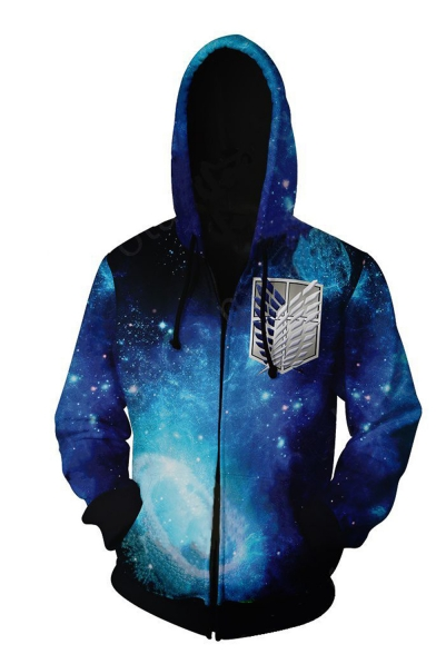 Cool Logo Galaxy 3D Printed Long Sleeve Navy Zip Up Hoodie