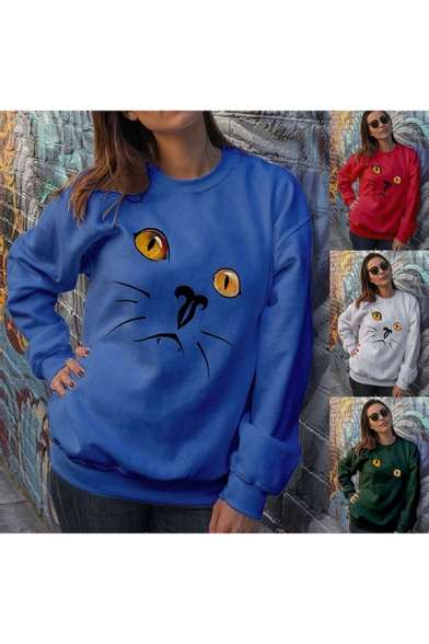 Cat Printed Long Sleeve Round Neck Casual Leisure Pullover Sweatshirt