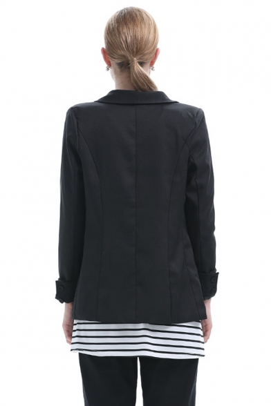 Fashion Women's Lapel Collar Open Front Fitted Long Blazer with Pocket