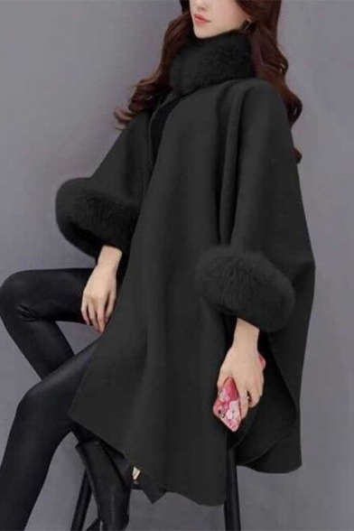 Fashionable Women's Faux Fur Collar Wool Plain Longline Cape Coat
