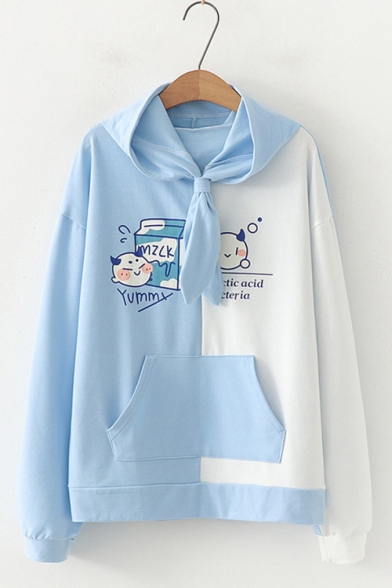 Girls Cartoon Milk Printed Color Block Long Sleeve Pullover Casual Hoodie